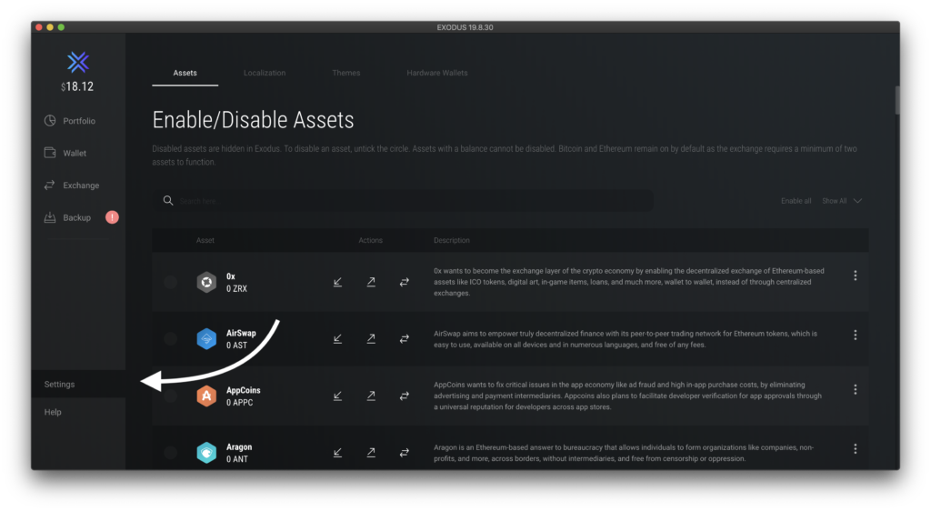 Where to Enable assets on Exodus
