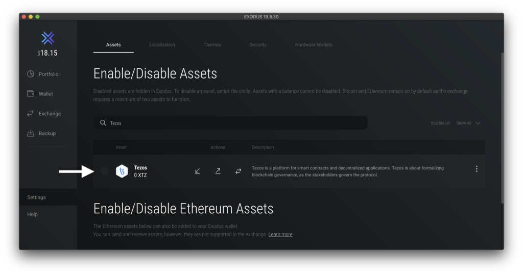 Location of check box to enable assets